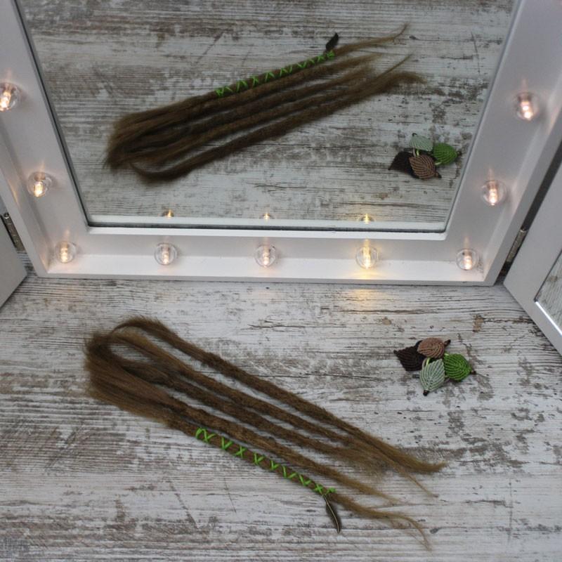 Muestra, extensiones de rasta de cabello Natural Finas Cortas