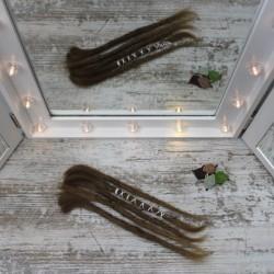Muestra, extensiones de rasta de cabello Natural gruesas Cortas marrón medio
