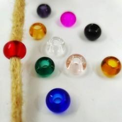 Abalorio para rastas de vidrio transparente de colores