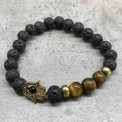 Lava Stone Bracelet - Hamsa...